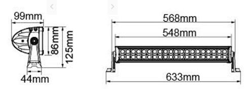 """BARRA LED 22""""   2x20 LED - 120W COMBO  8800LM"""