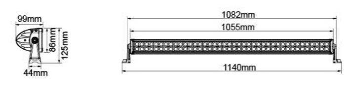"""BARRA LED 43""""  2x40 LED -  240W COMBO CURVA  17600LM"""